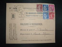 DEVANT LR VALEURS A RECOUVRER TP PAIX 1F + 65c Paire + SEMEUSE 15c + 5c OBL.24-11 38 ST ETIENNE MANUFACTURE (42) - 1921-1960: Modern Tijdperk