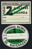 2 X Etiquetas Barco CCN COMPANHIA COLONIAL De NAVEGAÇÃO Luanda. Set 2 Vintage SHIP Label Passengers' Baggage PORTUGAL - Schiffe