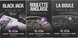 JOA Casino S France : Lot De 3 Guides Poche De La Règle Du Jeu - Advertising