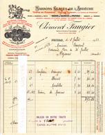 07 - Ardèche Privas  - 1932 - Faugier - Marrons Glacés - Crème De Marrons Et Confitures  Faugier - Facture - France