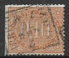 REGNO D'ITALIA 1869 SEGNATASSE RE V.EMANUELE II OVALE VALORE NEL CENTRO SASS. 2 USATO VF NON DENT.A SX - Segnatasse