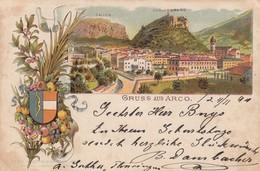 ARCO-TRENTO-GRUSS AUS TRENTO-BELLISSIMA E RARA CARTOLINA LITHO-  VIAGGIATA IL 23-11-1894 - Trento