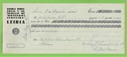 Leiria - Letra Da Escola Industrial E Comercial De Domingos Sequeira De 1935 - Publicidade - Portugal - Chèques & Chèques De Voyage
