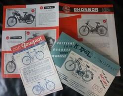3 Pubs - Cycle - Vélo Moto - Peugeot 1948, Mobyvelo (58) 1953 Et Rhonson 1950 - Motor Bikes