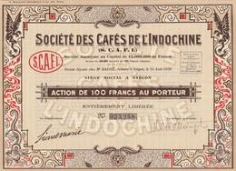 Indochine - Sté Des Cafés D'Indochine - Capital De 15 000 000 F / Action De 100 F - Asie