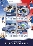 DJIBUTI - 2016 - Euro 2016 - Perf 4v Sheet  - Mint Never Hinged - Djibouti (1977-...)