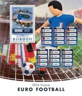 DJIBUTI - 2016 - Euro 2016 - Perf Souv Sheet  - Mint Never Hinged - Djibouti (1977-...)