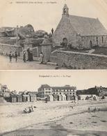 TREGASTEL - 2 CPA : La Chapelle - La Plage - Trégastel