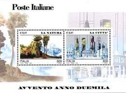 93868) ITALIA-Avvento Dell'anno 2000, La Natura E La Città - BLOCCO FOGLIETTO - 4 Maggio 2000 -MNH** - Blocks & Sheetlets