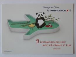 AIR FRANCE KLM - Avion / Compagnie Aérienne - CHINE / PANDA - 9 Destinations Depuis Lyon - Carte Publicitaire - Avions