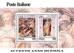 93870) ITALIA-Avvento Dell'anno 2000, La Guerra E La Pace - BLOCCO FOGLIETTO - 4 Settembre 2000-MNH** - Blocks & Sheetlets