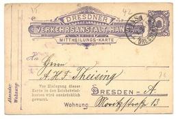 """GS Stadtpost Privatpost Dresdner Verkehrsanstalt Hansa Dresden 1895, """"Verein Für Kanarienzucht, Vogelschutz U. Pflege"""" - Privé"""