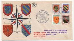 FRANCE -  FDC - Blasons Maine, Navarre, Bourbonnais, Nivernais - Paris 3 Nov 1954 - FDC