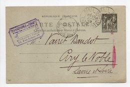 - Carte Postale SOCIÉTÉ ESPAGNOLE DE DYNAMITE, PARIS Pour CIRY-LE-NOBLE 22 JUIN 1899 - 10 C. Noir Type Sage - - Standaardpostkaarten En TSC (Voor 1995)
