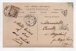 - Carte Postale Pour ARGENTEUIL Via ANCY-LE-FRANC (Yonne) 1906 - Taxée 10 C. Brun Type Duval - - 1859-1955 Brieven & Documenten