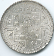 Nepal - Tribhuvana - VS2005 (1948) - 1 Rupee - KM725 (4 Dots Adjacent To Trident) - Nepal