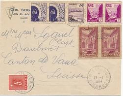 """TAXE 5c SEUL Sur Lettre Avion Du MAROC Obl """" AIN EL AOUDA 21/1/54  """" +  > BAULMES VAUD SUISSE - Taxe"""