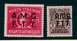 1947 Italia Italy Trieste A  RECAPITO AUTORIZZATO Serie Di 2v. MNH** - Mint/hinged