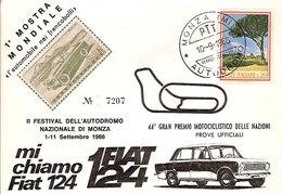 """(St.Post.).Repubblica.""""44° Gran Premio Motociclistico"""".Annullo Speciale Su Cartolina Del 10-9-1966 (37-a20) - Motos"""