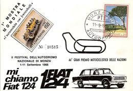 """(CTF).1^ Mostra Mondiale Filatelica """"Monza Autodromo"""".Annullo Speciale Su Cartolina Del 11-9-1966 (38-a20) - Timbres (représentations)"""