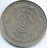 Nepal - Birendra - VS2052 (1995 -२०५२) - 10 Rupees - 50th Anniversary Of The FAO - KM1089 - Nepal