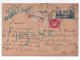 1940 - ENTIER RECOMMANDE De LE CANNET (ALPES MARITIMES) Pour NICE - Cartes Postales Types Et TSC (avant 1995)