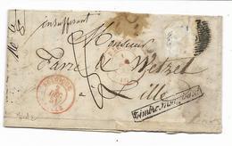 """1851-lettre """"TIMBRE INSUFFISANT """" Timbre Manquant  ?? Cachet BELGIQUE LILLE+ LIEGE -taxe Manuscrite 8 Voir 3 Scans - Belgium"""