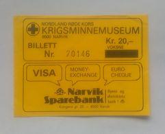 Krigsminnenmuseum War Museum Musée De La Guerre WWII Narvik Entry Ticket Billet D'entrée - Tickets D'entrée
