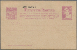 Spanien - Ganzsachen: 1937, Stat. Postcard 'Matrona' 25c. Lilac With Additional Four-line Annotation - Interi Postali