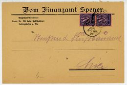 D 73 Paar Als MEF Vom Ortsbrief Vom Finanzamt Speyer - Lettres & Documents