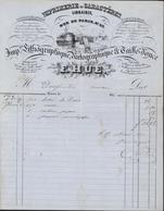 Facture Illustrée Port Imprimerie En Caractères Librairie Lithographique Papeterie Ets F Hue Le Havre 1846 - 1800 – 1899