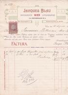 """Fattura Comm. Con Marca Da Bollo - Wien , Tipografia - Litografia  """" Jacques Blau """" - Autriche"""