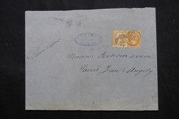 FRANCE.- Type Napoléon 10ct ( Piquage à Cheval ) + 40ct Sur Papier D'affaires ( Sans Texte) De Poitiers  - L 59218 - 1849-1876: Periodo Clásico