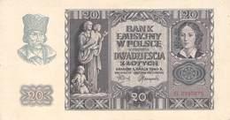 POLAND - 20 ZLOTYCH 1940 P #95 /BN65 - Polonia