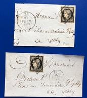 1849 1850 2 Lettres (Decoupees) De EU Seine Inferieure - 1849-1876: Période Classique