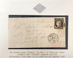 1850 Lettre De Rouen Pour Yvetot Seine Inferieure - 1849-1876: Période Classique