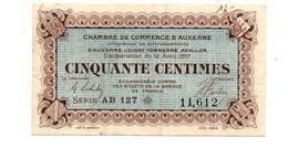 AUXERRE JOIGNY TONNERRE AVALLON  BILLET DE.50 CENTIMES - Chamber Of Commerce