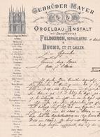 """Fattura Comm.  -  Feldkirch  &  Buchs , Fabbrica Di Organi Musicali  """" Gebruder Mayer """" - Austria"""