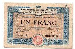 GRAY ET VESOUL 1 FRANC - Chamber Of Commerce