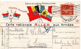 """CP- 4 Drapeaux -""""  Carte Nationale ALLER  Aux  Armées """"- - Storia Postale"""