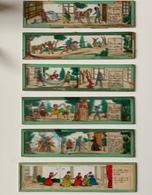 6 Plaques Verre XIXè Pour Lanterne Magique / Don Quichotte (5) + Cendrillon (1) - Jouets Anciens