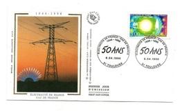 Timbre Premier Jour D'émission électricité De France Gaz De France 1946-1996 - Timbrede 3.00 Francs - Fabriken Und Industrien