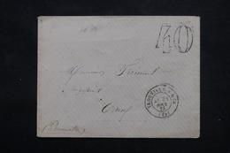 FRANCE - Taxe 40 Double Traits Sur Enveloppe De Trouville / Mer Pour Caen - L 59238 - Postmark Collection (Covers)