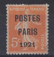 """PEU COURANT TIMBRE SEMEUSE PRÉOBLITÉRÉ PRÉO N° 27 5c ORANGE (COTE 500€) SURCHARGE """" POSTES PARIS 1921 """" - Préoblitérés"""