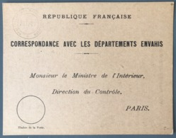 France - Carte - Correspondance Avec Les Départements Envahis - (B1606) - Marcophilie (Lettres)