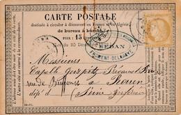 CP Postée Le 31 Mars 1876 à Sedan Et Arrivée Le 1er Avril à Rouen B/TB. - 1871-1875 Cérès