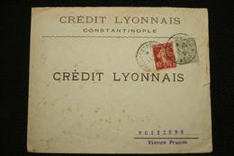 Perfin Lochung Perforé CL249 Sur Lettre Constantinople Turquie Crédit Lyonnais Tresor Et Postes 506 De 11/10/1920 - France