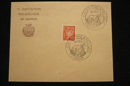 Perfin Lochung Pétain 70c Perforé Exp/ps Sur Lettre Expo Saumur 16/08/1943 - Perforés