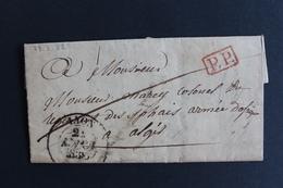 1838 LYON CAD 23/3 TYPE 13   POUR ALGER  CAD ALGER (POSS D'AFR) DU 28/03 EN PP MARQUE ROUGE... - 1801-1848: Vorläufer XIX