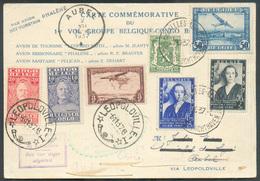 Carte Commémorative 1er Vol Groupe BELGIQUE CONGO BELGE Affr. Mixte Sc BRUXELLES AEROPORT - LEOPOLDVILLE 6-11-1937 Et Re - Luchtpost